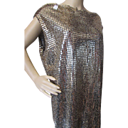 Flapper Style Gold Mesh Woman's Dress for Costume or Theater Hand Made Size Large