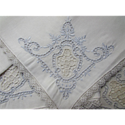 Dozen Formal Dinner Napkins in White Open Work with Blue Edging and Lace Trim