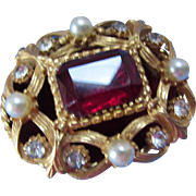 Florenza Trinket or Ring Box in Filigree and Ruby Color Stone
