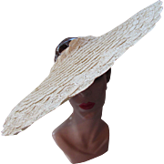 Amazing Cartwheel Hat with Open Crown in Cream Scallop Straw Derby Hat