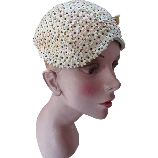 Vintage Hat by Martha Weathered in Oyster Tone Miniature Felt Flowers Mid Century