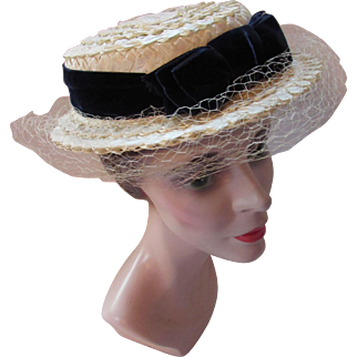 Martha Weathered Boater Style Hat in Cream Raffia and Midnight Blue Velvet By Chanda