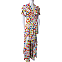 Fantastic 1940 Style Summer Long Sundress with Bolero in Bright Polka Dots