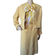 Ladies Jacket and Dress in Marigold and Cream Boucle and Silky Blend 1970/80 Style Helga Couture Blum's Vogue Chicago