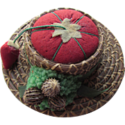 Vintage Pincushion Red Tomato in Pine Needle Faux Hat Made in Japan