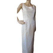Sparkly Winter White Sequined Evening Gown with Jacket Lee Jordan