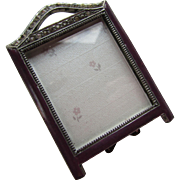 Miniature Enamel Photo Frame in Plum with Clear Rhinestones