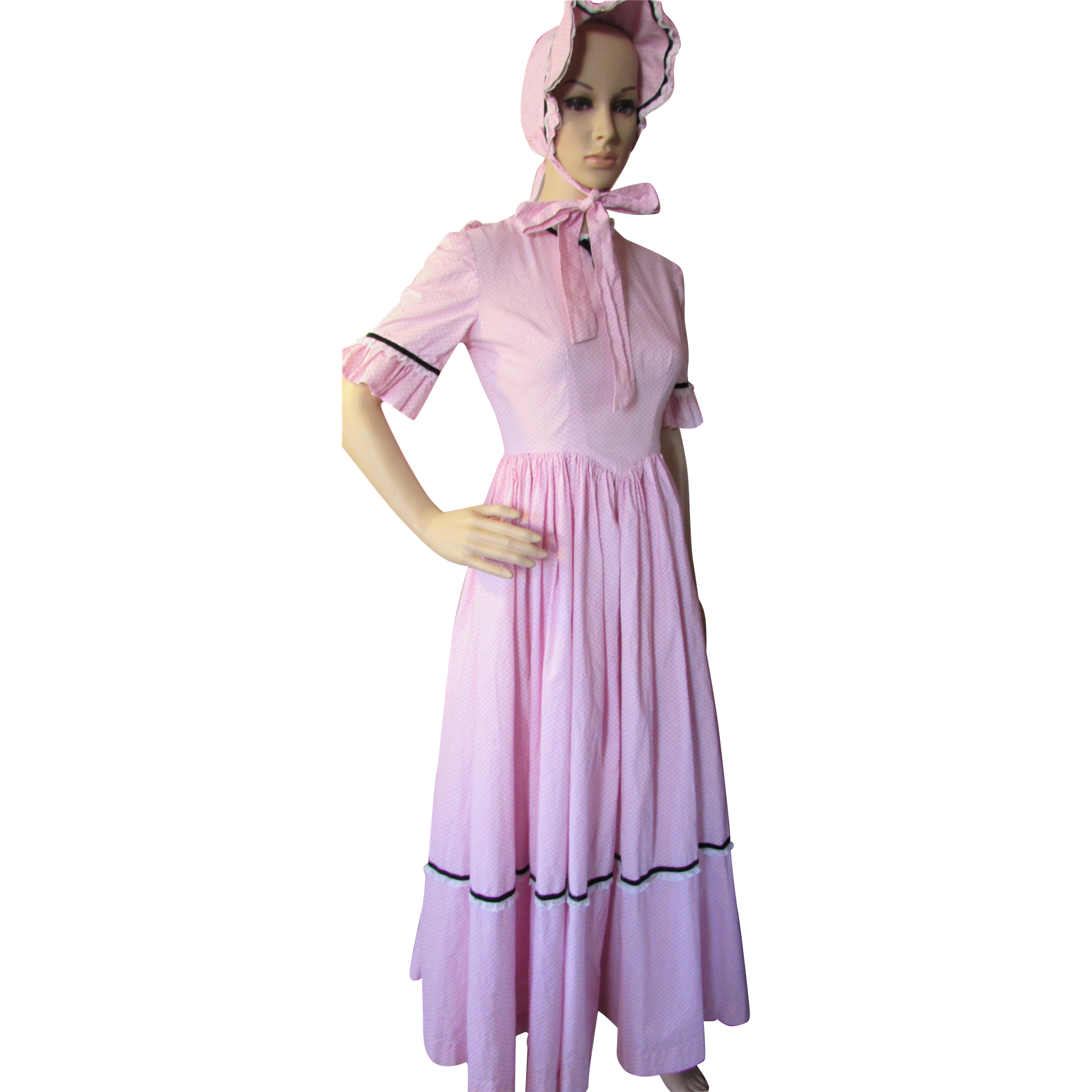 Little House on the Prairie Style Dress and Sunbonnet in Pink Gingham Reproduction Costume Hand Made