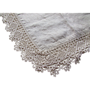 Linen Runner or Scarf with Crochet Edging Vintage Linens Hand Sewn