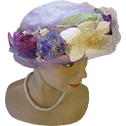 RESERVED  Spring Summer Lavender Straw Hat with Profusion of Flowers in Grape. Pink and White Saks Fifth Avenue
