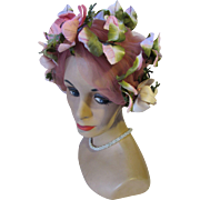 Mid Century Flower Bedecked Turban Hat in Pink by Mad Caps Originals