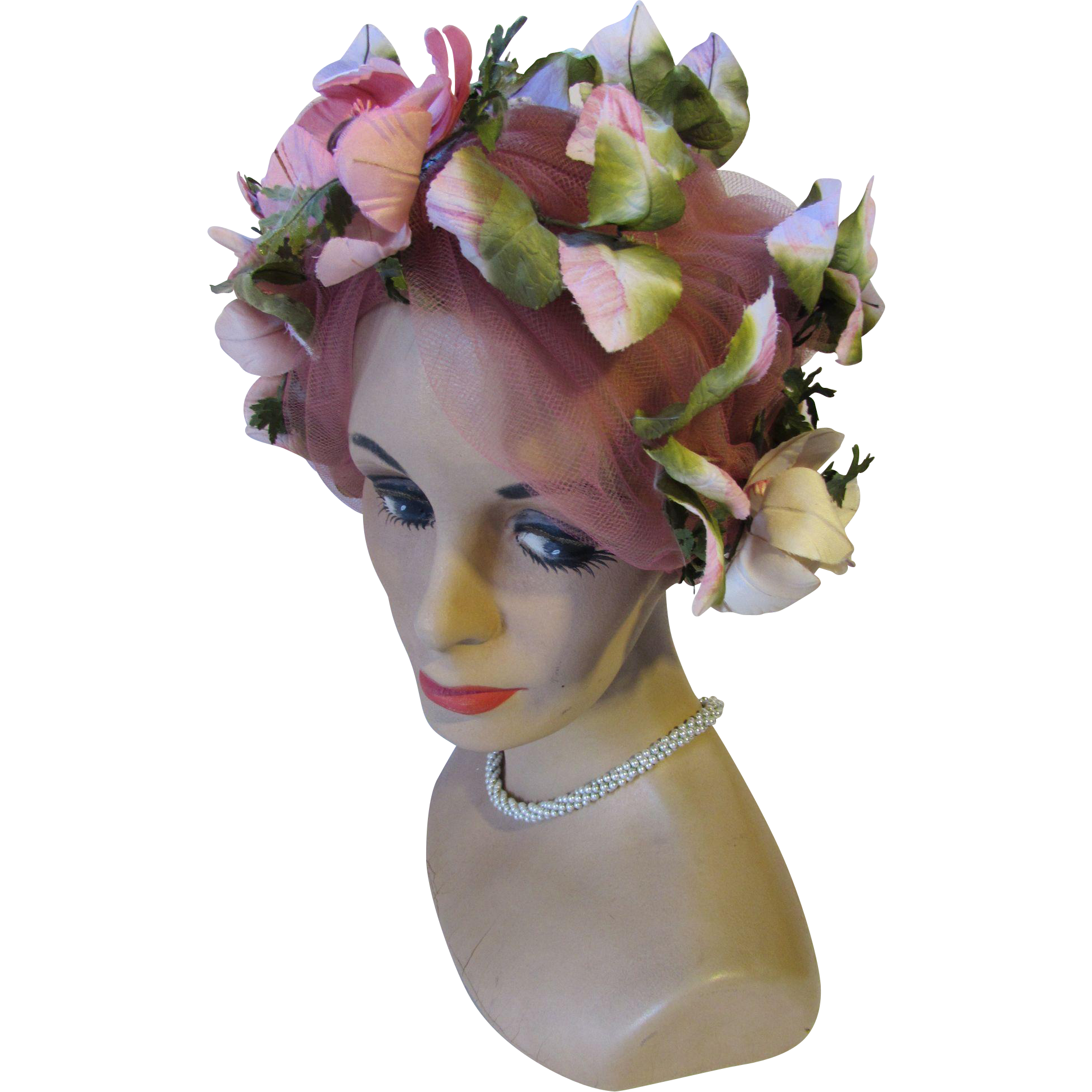 Mid Century Flower Bedecked Turban Hat in Pink by Mad Caps Originals