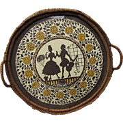 Vintage Round Serving Tray with Theme of Silhouette Courting Couple and Wicker Trim