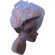 Ballerina Pink Half Hat with Large Organdy Roses and Millinery Flowers