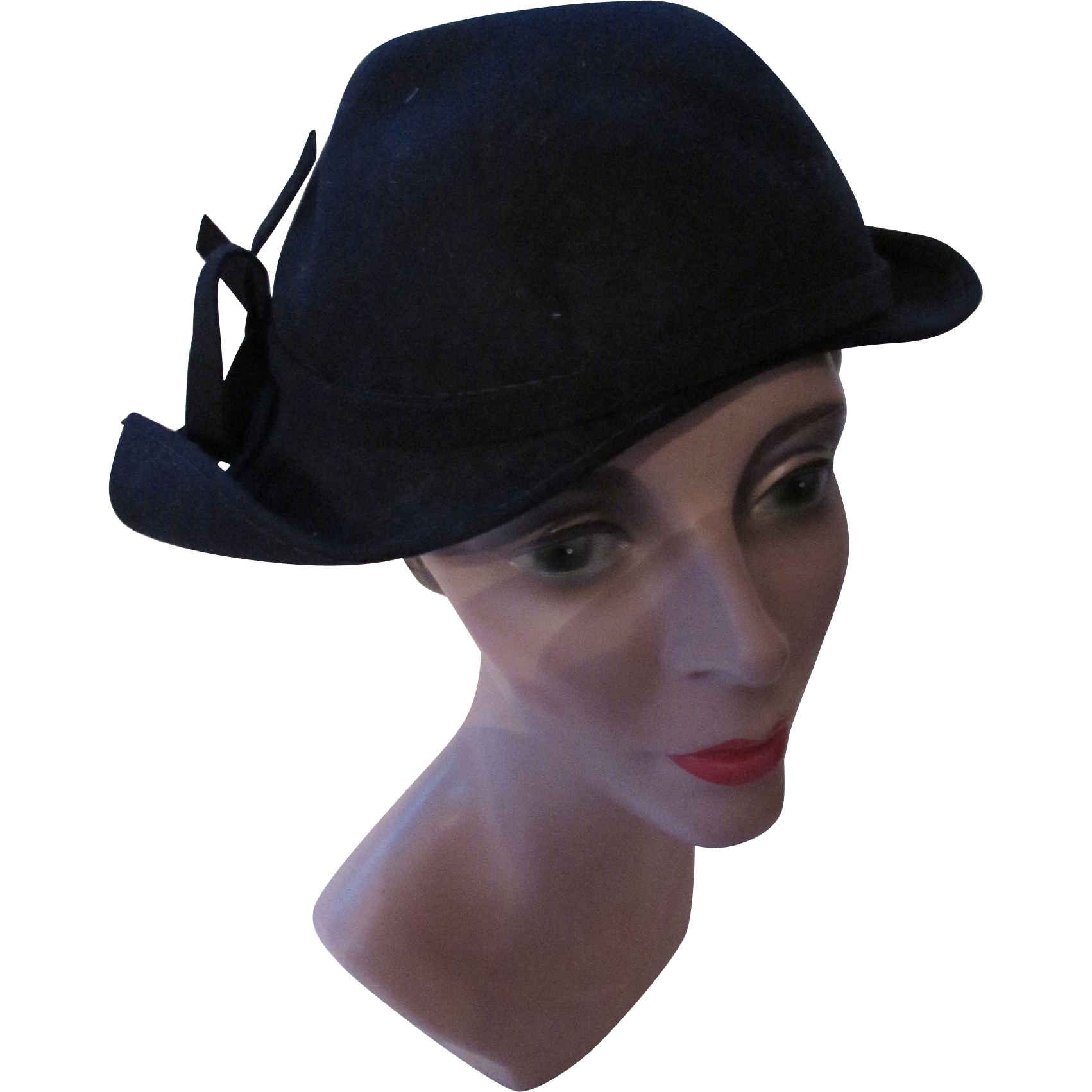 Black Felt 1940 Style Hat with Curved Side Wings and Bows Made in USA Schwab Ultra