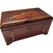 Cupids Chest Wood Trinket Box with Copper Band Medieval Style