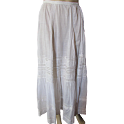Edwardian Era White Petticoat with Insert Lace for Salvage