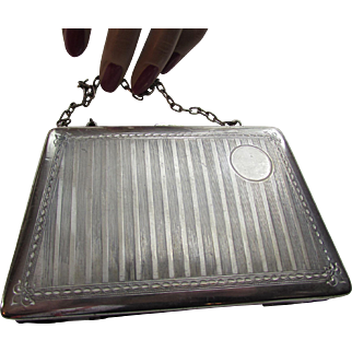 Silver Tone Coin Purse or Compact Cosmetic Purse with Grape Velvet Liner