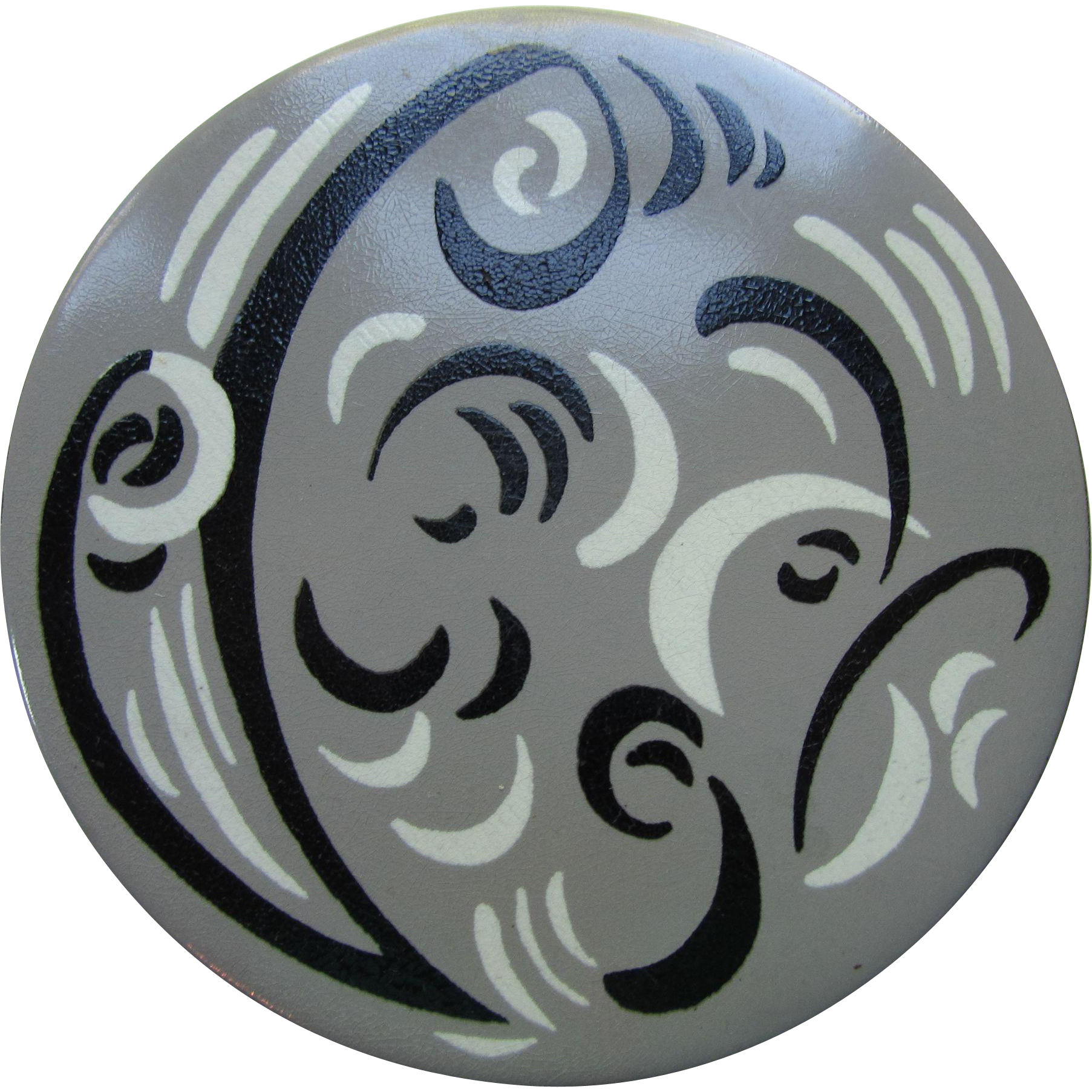 Powder Compact in Modern Style Painted Swirls of Gray, Black and White Pilcher Pad