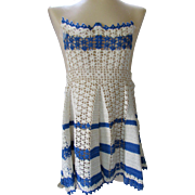 Little Girl's Apron in Crochet Blue and Cream
