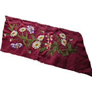 Victorian Era Wine Tone Silk Embroidered Remnant of Chain Stitch Flowers in White, Gold, Purple and Green