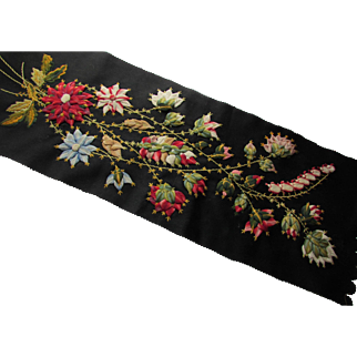 Victorian Era Embroidery Remnant Flowers in Pink, Red, Gold, Blue on Black