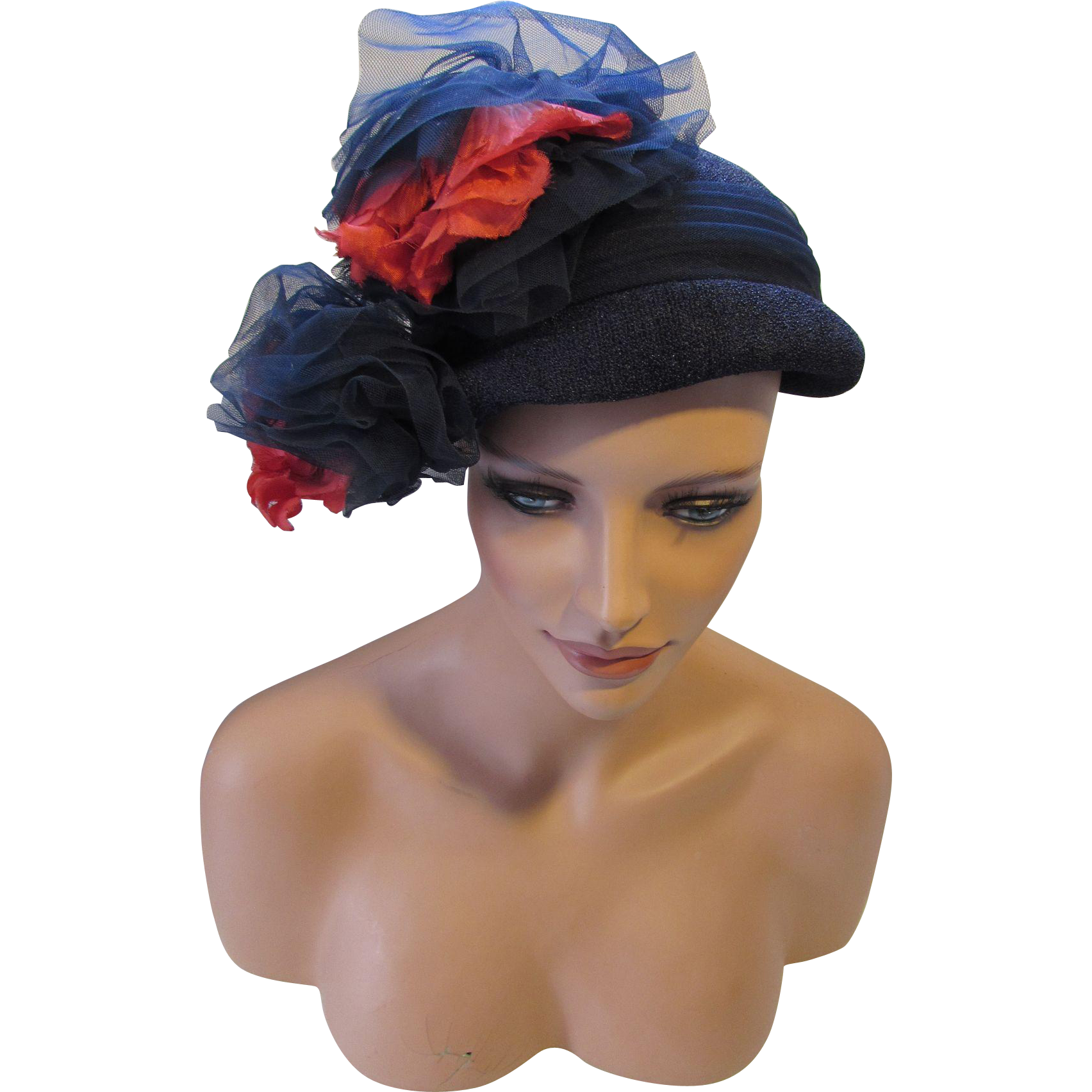 Gorgeous Cloche Style Hat in Navy Pebbly Fabric with Extravagant Red and Navy Flowers by Jane Morgan