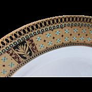 GNA Fine China Porcelain Dinner Plates Elegant Set of Four in Blue, Gold, Black