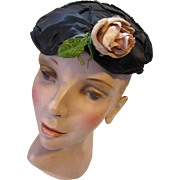 Sophisticated Mid Century Hat in Black Satin with Sequin Decoration and Muted Copper Tone Rose