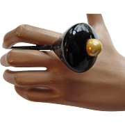 Black Lacquer Hat Pin or Hair Pin with Yellowed Faux Pearl Tip