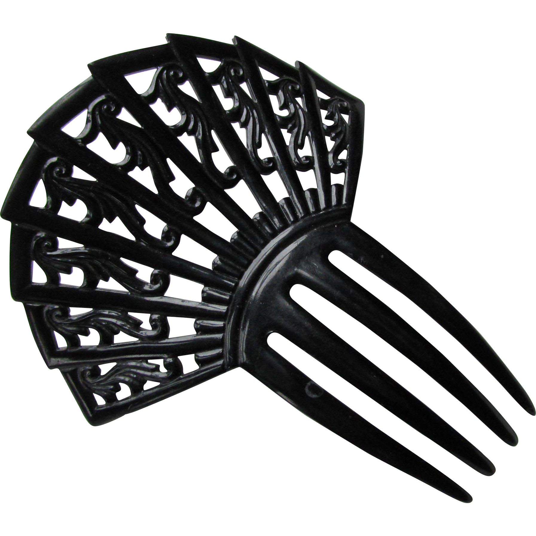 Open Work Hair Comb in Black Fan Design