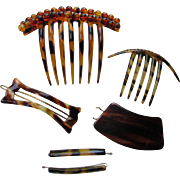 Grouping Hair Accessories in Faux Tortoise Shell Including Two Hair Combs