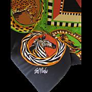 Bob Mackie Wearable Art Scarf Safari Theme in Ethnic Color Tones 100% Silk Made in Korea
