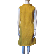 1960 Style Dress in Saffron Polyester Deep Texture with Rolled Bands by Stephen O'Grady