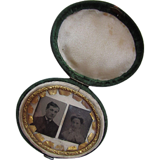 Victorian Era Green Velvet Photograph Locket Holder with Two Tintypes