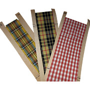 Trio Vintage Rayon Ribbons in Yellow Plaid and Red Gingham for Re-Purposing