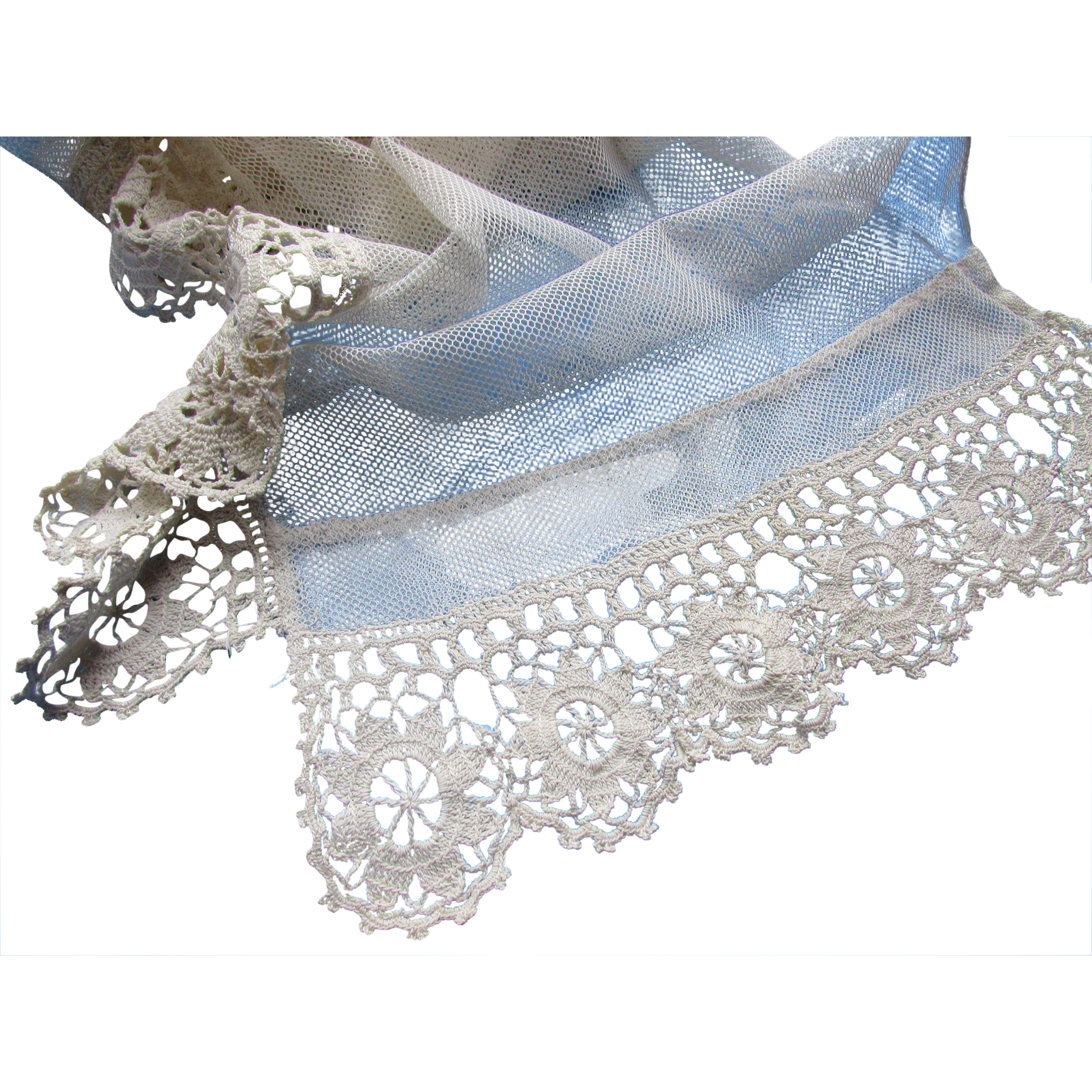 Romantic Style Vintage Net and Lace Valance or Runner in Cream Tone