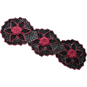 Mid Century Doily Set in Black and Rose with Metallic Thread Very '50's
