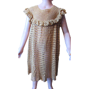 Vintage Little Girl Crochet Dress in Ecru with Crochet Ruffles