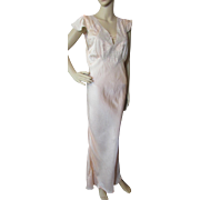 Lovely Vintage Negligee in Peach Rayon with Lace Accents