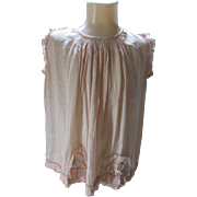 1930 Style Baby Doll Dress in Peach Silky Rayon with Ruffled Rosettes