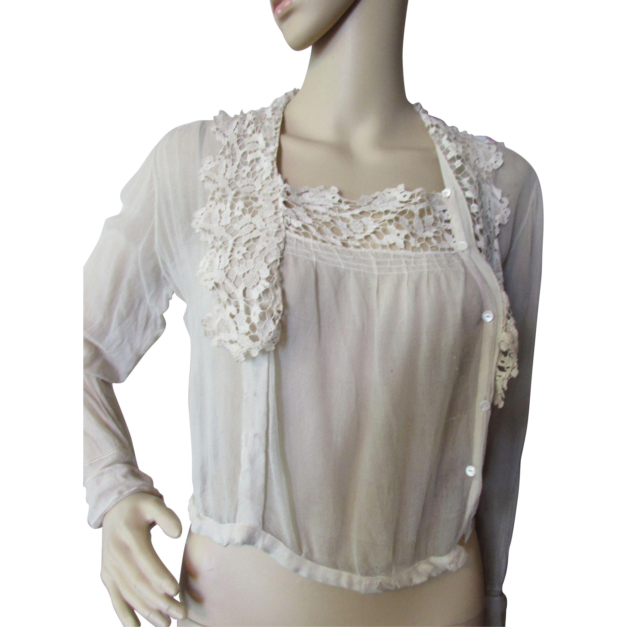 1920 Style Blouse in Oyster Tone with Lace Collar for Salvage