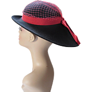 Mid Century Hat Black Wool Felt with Red Ribbon and Veil  V Shape Brim by Lancaster USA