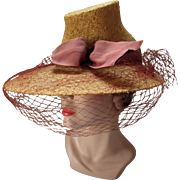 Unusual Straw Hat with High Crown Wide Brim Sugarloaf Style Pre 1950 Consumer Protection Label