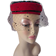 Open Crown Pill Box Hat in Ruby Red Velvet and Black Beaded Accent by Evelyn Varon