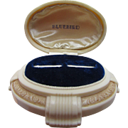 Cream Tone Deco Style Ring Box Bluebird Brand with Double Slots