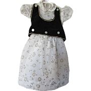 Little Girl Party Dress in Flocked Nylon and Black Velveteen Vest