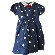 Mid Century Little Girl Party Dress in Navy and White Polka Dot Taffeta Alden's 1-6x Shop