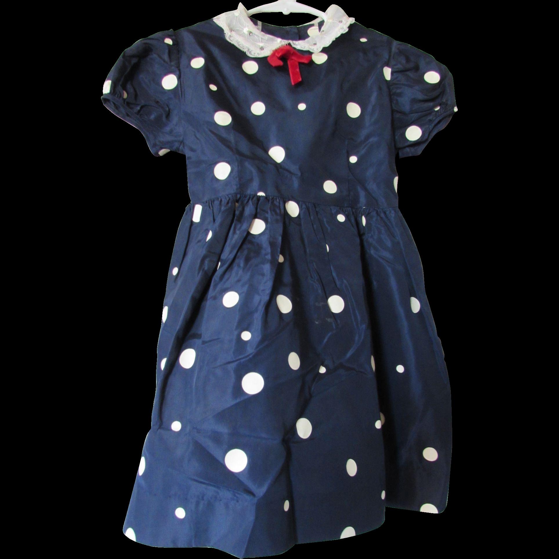 Mid Century Little Girl Party Dress in Navy and White Polka Dot Taffeta Alden's 1-6x Shop