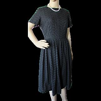 Mid Century Black Eyelet Summer Dress Full Skirt